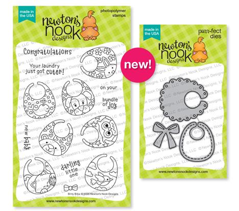 Newton's Nook Designs Bitty Bibs Stamp Set & Baby Bobs Dies  #newtonsnook #bittybibs #babybibs #babycards