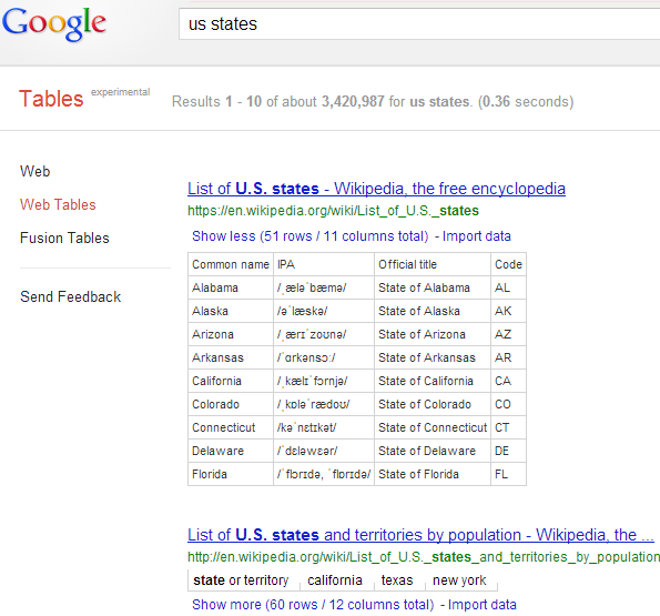 Google All Your: Google Table Search