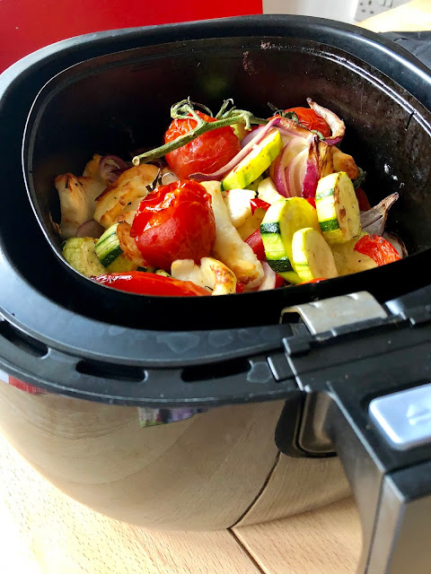 Air Fryer Roasted Mediterranean Vegetables with Halloumi Cheese