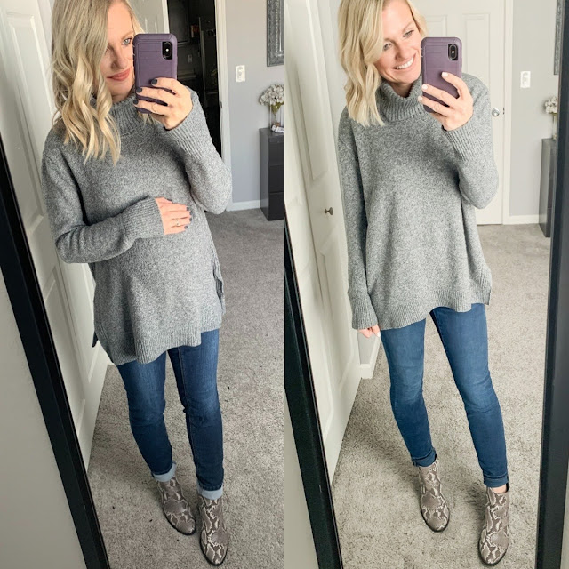 Turtleneck sweater with maternity jeans