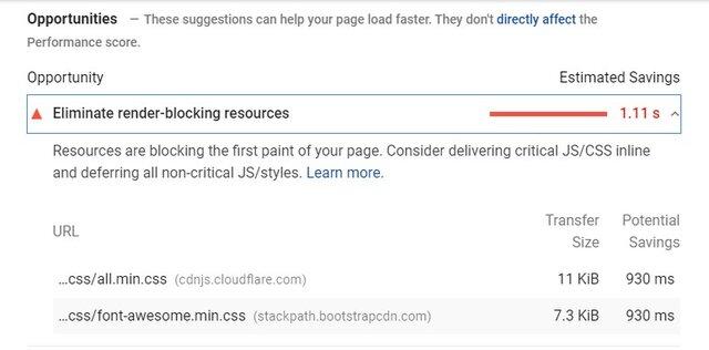 Eliminate Render Blocking Resources Message