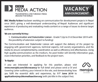 Vacancy Announcement from BBC Media Action