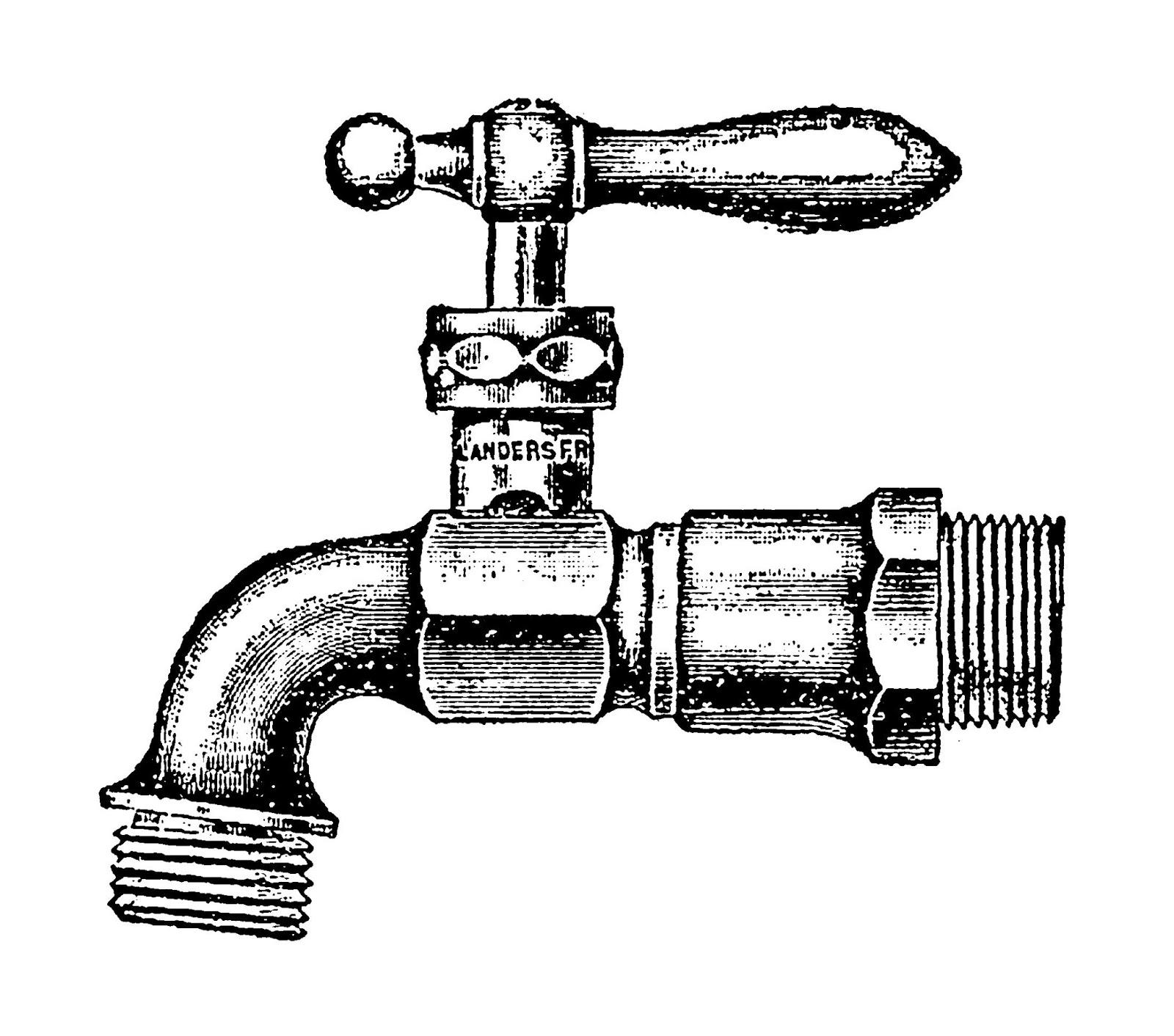 Digital Stamp Design Antique Garden Faucets Illustrations