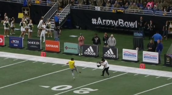 Amon-Ra St. Brown kicks ball into stands