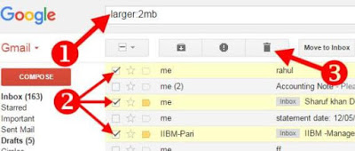 delete according to size email