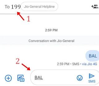 jio balance check by sending sms