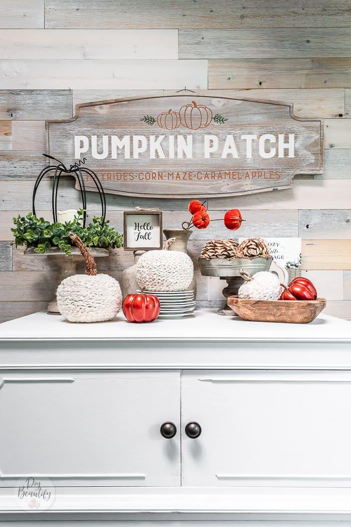 crochet chain neutral pumpkins, rust pumpkins, wood decor, pumpkin patch sign and reclaimed wood wall