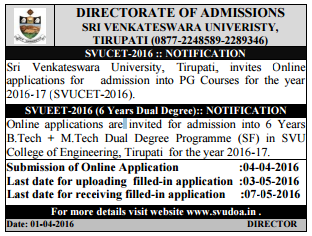 How to Apply SVU PGCET 2016 Online Registration Procedure