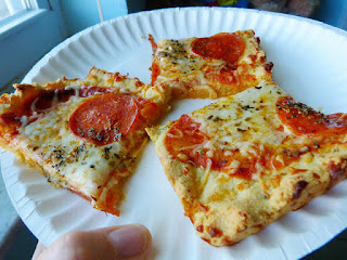 Almond Flour Crust Pizza on a paper plate