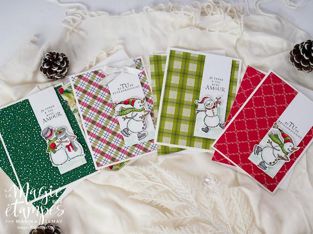 Carte de Noël Stampin'Up! avec le jeu d'étampes Spirited Snowmen et le papier design sous le gui