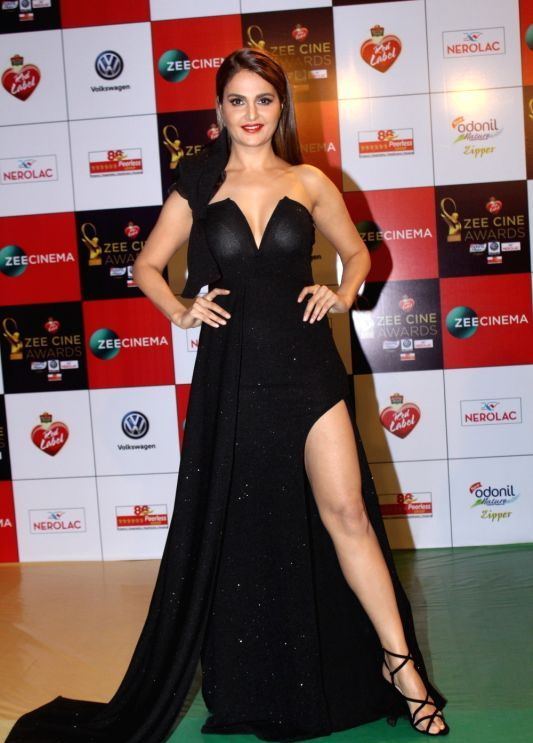 Monica Bedi Long Legs Show Stills In Hot Black Gown