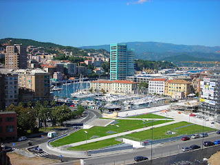 A view of the harbour area in Savona, the third largest city in maritime Liguria