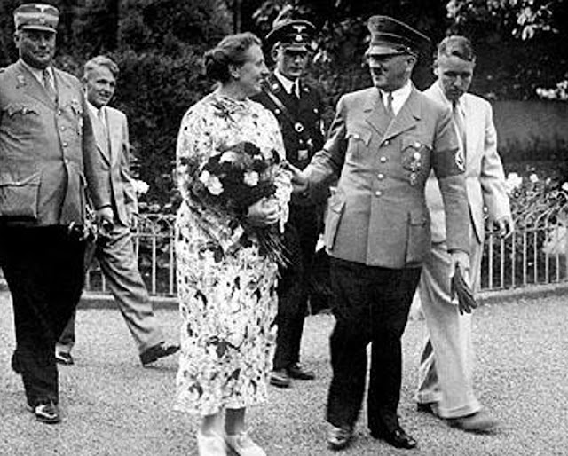 Winifred Wagner with Adolf Hitler, and her sons Wieland and Wolfgang at Bayreuth