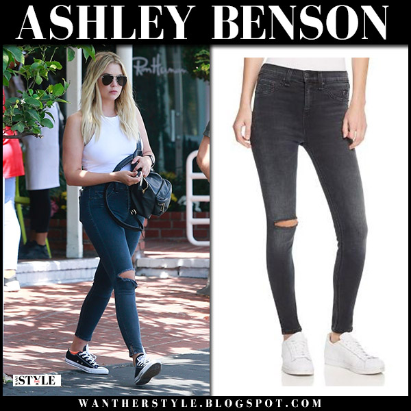 Ashley Benson in grey ripped skinny jeans rag and bone and white top street fashion july 21