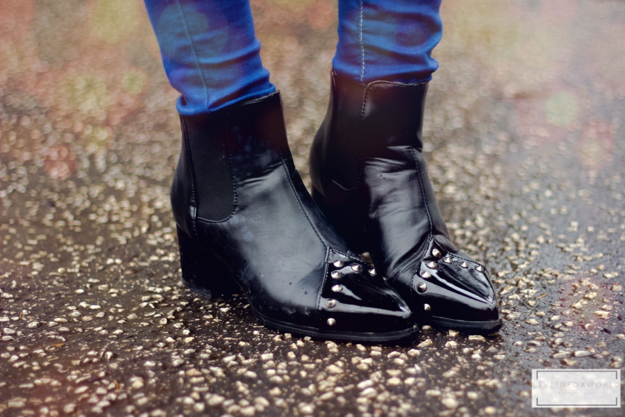 black rived ankle boots