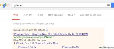 """Apple đã mua tất cả từ khóa """"Iphone"""" – hang khác không được quảng cáo từ khóa """" iphoone"""""""