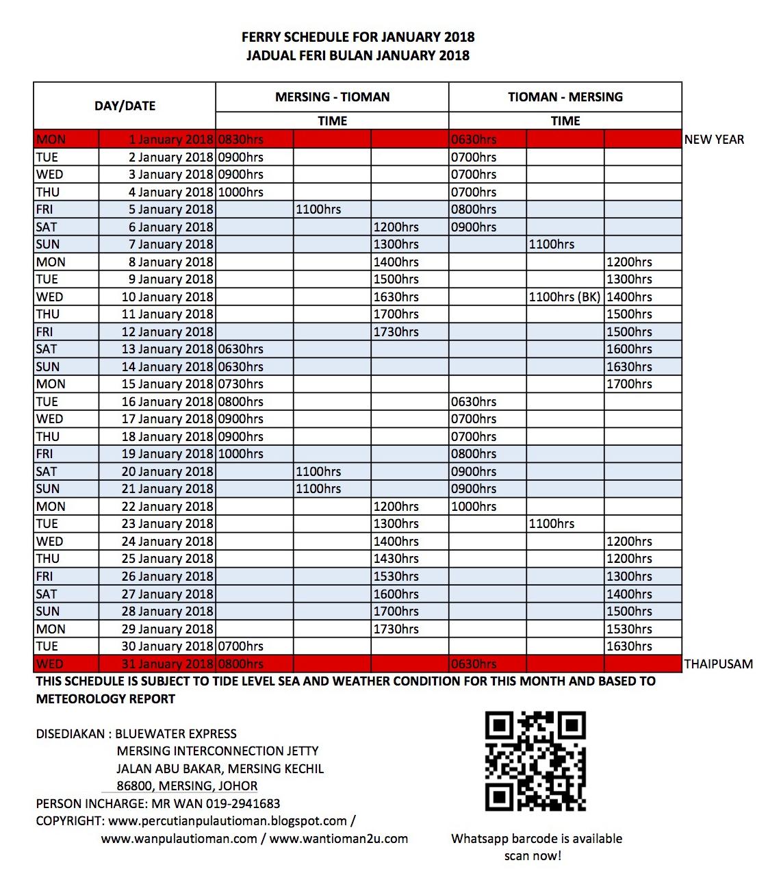 Tioman Ferry Transfer Schedule January 2018