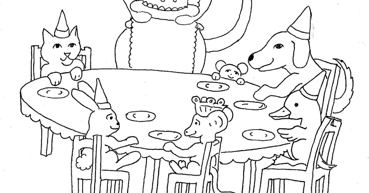 Coloring Pages for Kids by Mr. Adron: Animals Birthday