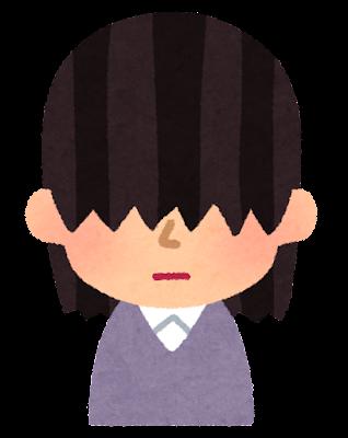 前髪がとても長い人のイラスト(女性)