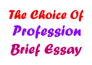 The Choice of a Profession Brief Essay