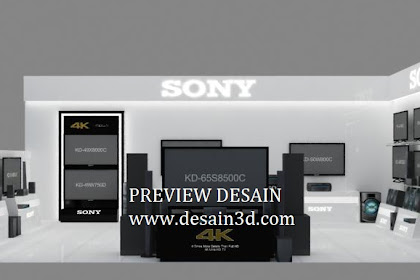 Contoh desain 3D perspektif Interior Stand Pameran Toko Elektronik