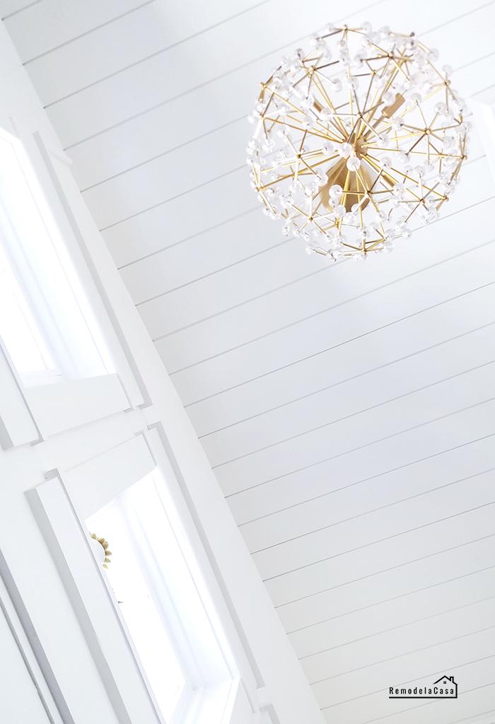 DIY Shiplap on ceiling