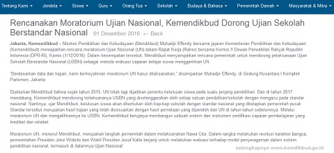 Rencanakan Moratorium Ujian Nasional (UN), Kemendikbud Dorong Ujian Sekolah Berstandar Nasional (USBN)