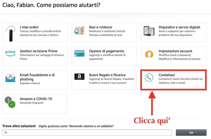 pagina aiuto di amazon da browser web computer