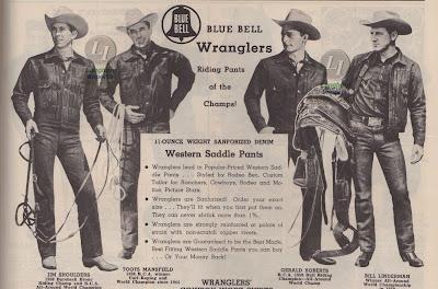 1951年のカウボーイカタログのWranglerのページ。ラングラーのデニムジャケット、パンツを着用する4人の歴代のロデオチャンピオンのイラスト
