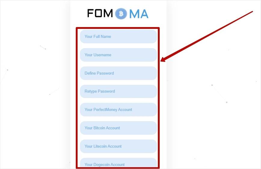 Регистрация в Fomoma 2