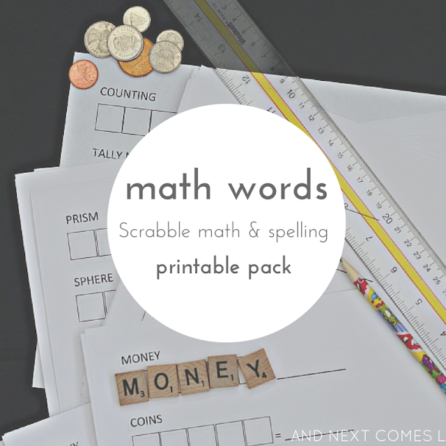 Math themed Scrabble math printable pack for kids to practice spelling words about money, time, and shapes from And Next Comes L