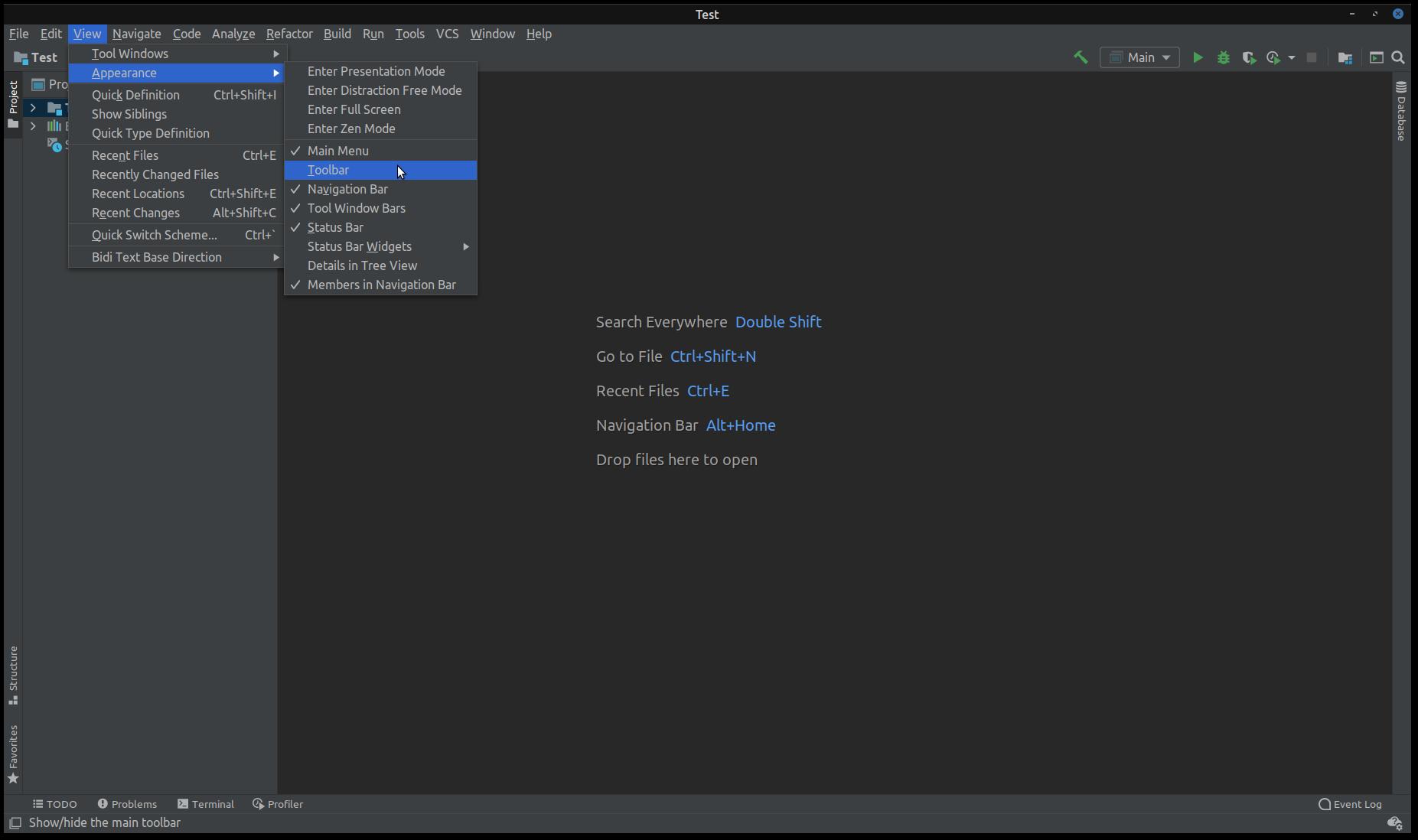 IntelliJ IDEA Enable Toolbar