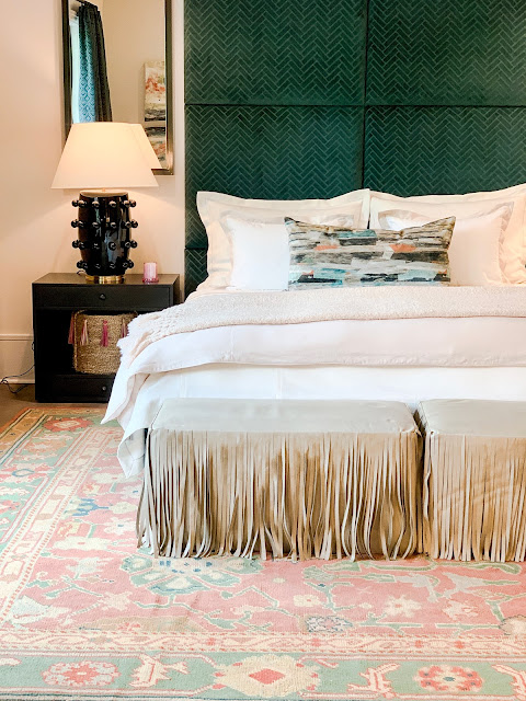 Sherwin Williams Elder White paint color on walls of bedroom with design by Ashley Gilbreath in 2019 Southeastern Designer Showhouse. Photo: Sherry Hart.