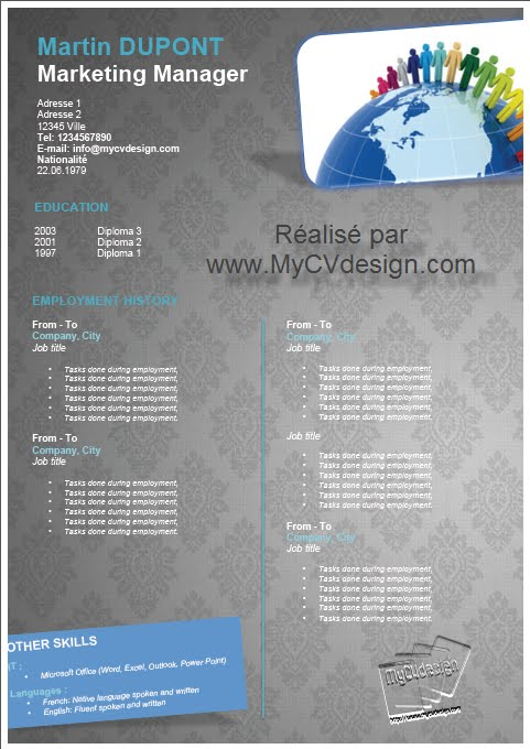 my cv design  gratuit   8 modeles de cv  u00e0 t u00e9l u00e9charger