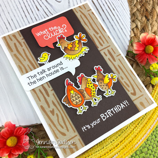 Birthday Clucks Card by Jennifer Jackson | Cluck Stamp Set, Speech Bubbles Die Set and Hardwood Stencil by Newton's Nook Designs #newtonsnook #handmade