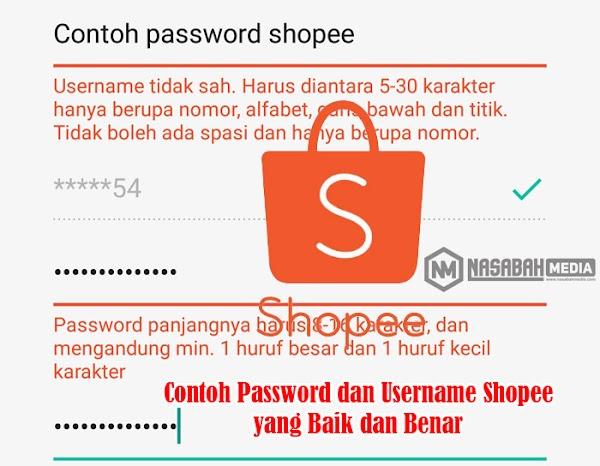 Contoh Password dan Username Shopee yang Baik dan Benar