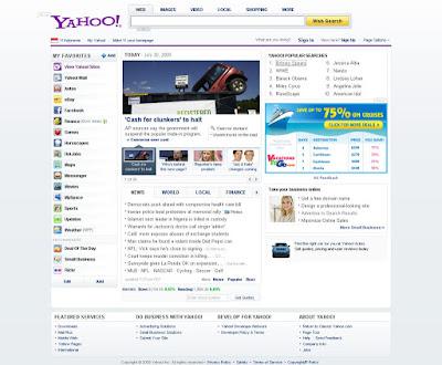 tampilan desain baru homepage yahoo