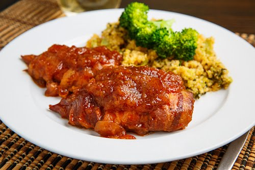 Slow-cook chicken breasts in a mixture of bottled barbecue sauce, Italian dressing, brown sugar and Worcestershire sauce for a tender, sweet, and tangy barbecue chicken that's great on a bun or even over a baked potato.