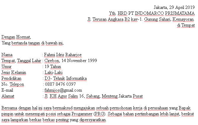 Contoh Surat Lamaran Pekerjaan Di Pt Indomarco