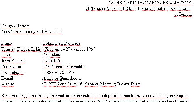 Pt Indomarco Prismatama Contoh Surat Lamaran Kerja Indomaret Tulis Tangan Kumpulan Contoh Gambar