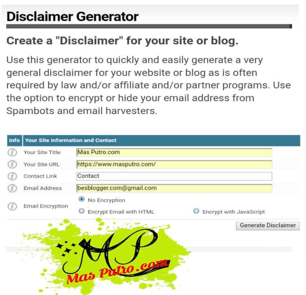 Cara Membuat Disclaimer di Blog Dengan Mudah