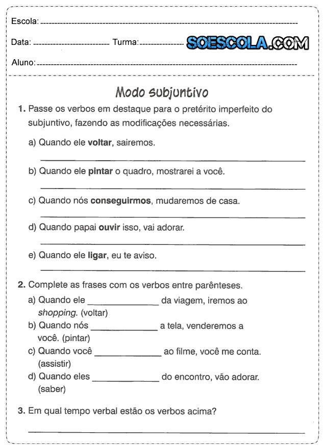 Atividades De Português 5 Ano Verbos Só Escola