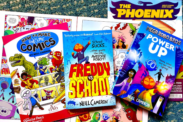 An open copy of The Phoenix showing Neill Cameron's comic and his books