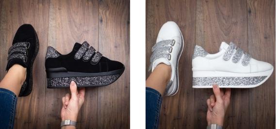 Sneakersi Decevi negri si albi cu argintiu cu talpa groasa