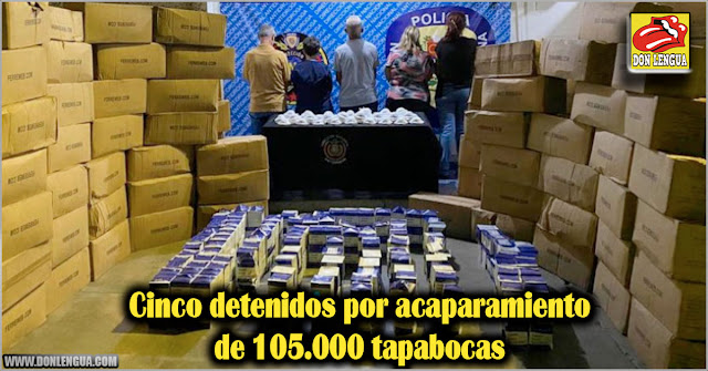 Cinco detenidos por acaparamiento de 105.000 tapabocas