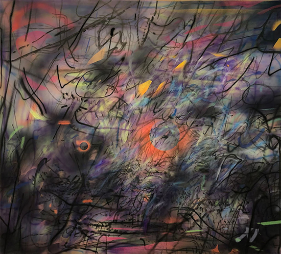 Julie Mehretu Sun Ship (J.C.), 2018 ink and acrylic on canvas 274.3 x 304.8 cm