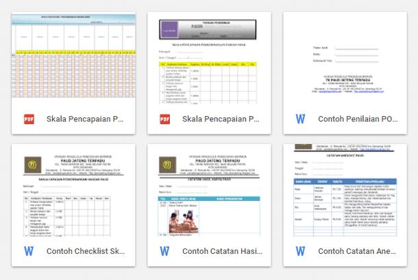 Contoh Format Penilaian dan Observasi PAUD-TK-RA Kurikulum 2013