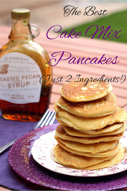 recipe graphic for cake mix pancakes