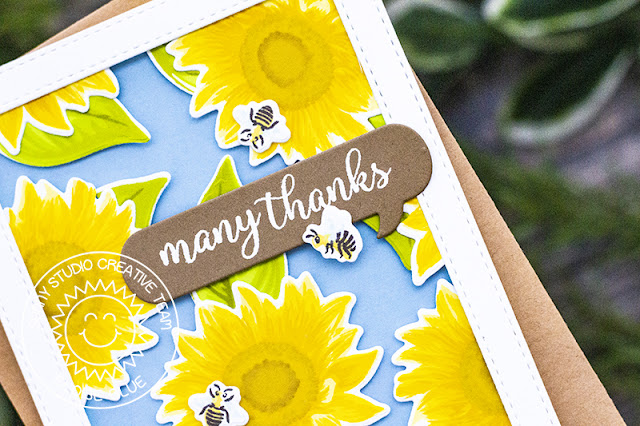 Sunny Studio Stamps: Sunflower Fields Comic Strip Speech Bubbles Dies Thank You Card with Eloise Blue