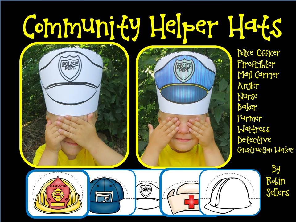 this community helpers set includes 10 color hats and the same 10 hats